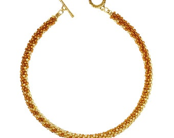 Amber-Gilded-Beige - Seed Beaded Collar Necklace