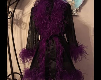 Black and Purple Sheer Stretch Mesh Ostrich Feather Robe. Burlesque Peignoir Cabaret Vintage Lingerie
