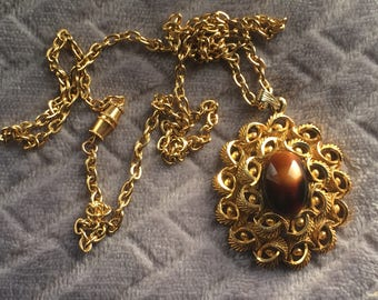 Vintage Art Nouveau Style Large Oval Swirl Pendant Simulated Tiger Eye and Gold Tone Metal Necklace/Long Necklace/1980s/Barrel Clasp