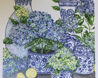 Chinoiserie Blue and White Hydrangeas Print