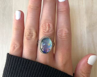 Sterling Silver Opal Ring. Size 7.