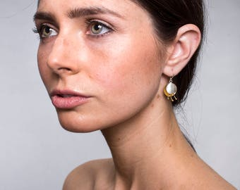 2-tones Handmade Sand-Brushed Delicate Gold-Plated and Sterling Silver Earrings