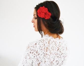 Accessoire cheveux mariage fleurs rouge bohème, headband demoiselles d'honneur mariage champêtre, headband fleurs rouge