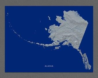 Alaska Map, Michigan Wall Art, AK State Art Print, Landscape, Navy Blue