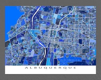 Albuquerque Map, Albuquerque New Mexico, USA City Artwork, Blue