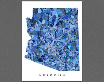 Arizona Map Print, Arizona State Art, AZ Wall Decor