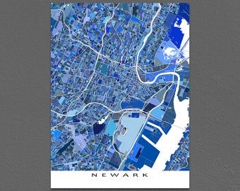 Newark Map Print, Newark New Jersey, USA City Map Poster, Blue Art