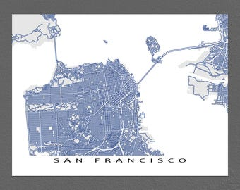 San Francisco California, San Francisco Map, San Francisco CA Art Print