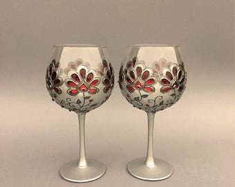 Wine goblets, Gothic Wedding glasses, Gothic Glasses,Hand painted glasses,Wine glasses, Gothic goblets, Gothic gift