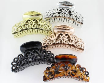 hair clip plastic hair claw clip barrette clamp accessory curved grip teeth open scroll cut out pattern design Black Brown Rose Gold