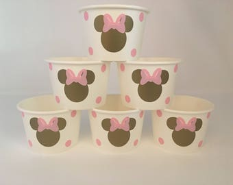 Minnie Mouse pink and gold party snack cups, Pink and Gold Minnie Mouse party, Gold and Pink Minnie Mouse party