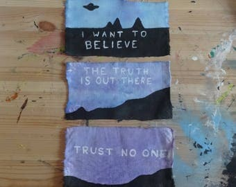Set of 3 hand painted X-Files patches
