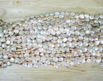 "Peach Freshwater Coin Pearl - 15"" Strand (12mm)"