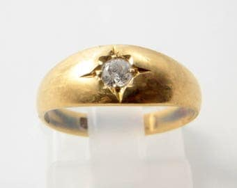 Antique Edwardian 18ct Yellow Gold & 17pt Diamond Gypsy Ring