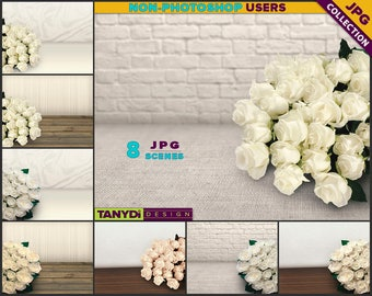 Table Styling TS-C3 | 8 JPG Close-up Styled Table White Roses Scene | Bricks Wood Fabric | Product Display Mockup Scene Creator
