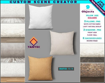 Custom Scene Creator | Decorative Pillow M1-S | White Natural Light Brown Burlap | Non-Photoshop | PNG Pillows | Room stage background