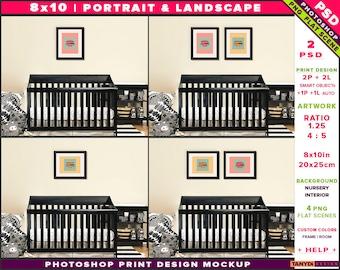 Nursery Interior Photoshop Print Mockup 810-N12   Portrait & Landscape Set of 2 Black Frames   Black crib   Smart object Custom colors