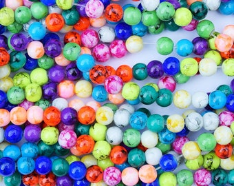 210+ 8mm Spray Painted Round Glass Beads Opaque Marble Effect Mixed Colour