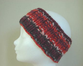 knit ear warmer pink purple girls chunky head warmer size 6-11 yrs warm comfortable knit thick yarn headband girl princess warm colors girl