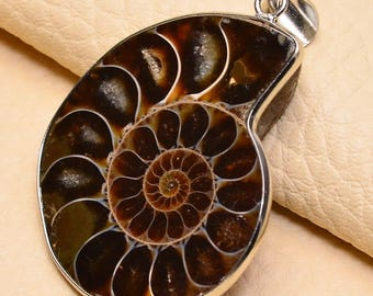 Natural Ammonite Fossil silver plated pendant ( #J1639)