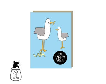 Taa Very Much Seagull Mini Thank You Card - Seagulls - Chips
