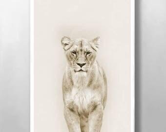Animal Print, Nursery Wall Art, Safari Nursery Prints, Lioness Print, Nursery Prints, Home Decor, Baby Animal Prints,  Kitchen Wall Art
