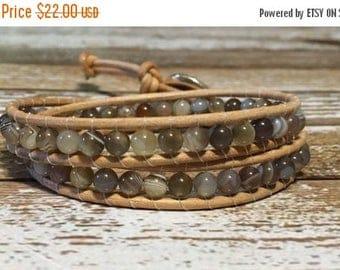 SALE Chan Luu Style Wrap Bracelet / Botswana Agate Bracelet / Healing Crystal Bracelet / Chan Luu Bracelet / Botswana Agate Jewelry