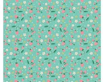 1/2 Yard Bunnies and Blossoms by Lauren Nash for Penny Rose Fabrics-6994 Teal Bunnies Strawberries