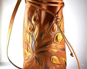 "Leather Handbag""Flavour""- Bag- Genuine leather- Leather Bag-Shopper-Italian Leather-Bucket Bag-Gift for her- boho leather bag- Leather- Gift"