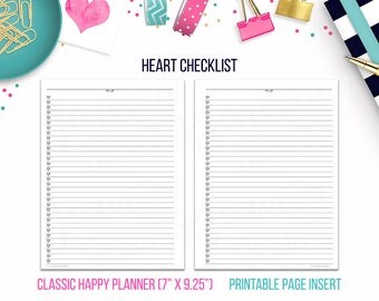 Classic HP: Heart Checklist • Printable Page Insert for CLASSIC Happy Planner® sized Discbound or Ringbound Agendas, Organizers or Planners