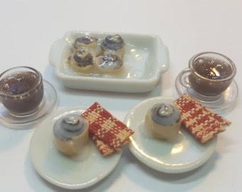 1:12 Cinnamon rolls set miniatures dollhouse