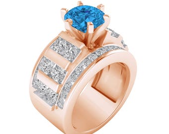 2.28 Cttw Topaz & Diamond Solid 14K Rose Gold Engagement Solitaire Bridal Wedding Ring