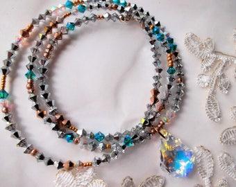 Swarovski crystal necklace swarovski pendant handmade crystal chain long festive crystal chain bohemian style