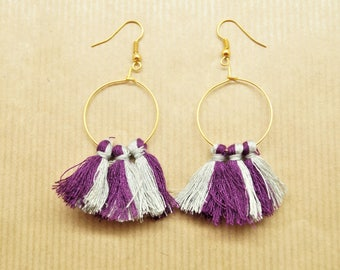 Kit pair silver-gun earrings and creoles, 6 gray, purple pompons pompons