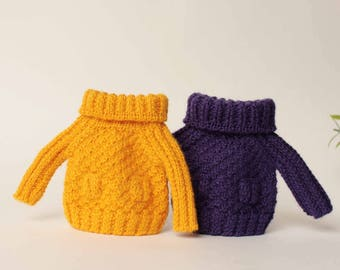 Blythe sweater, Yellow Blythe pullover, Purple doll clothes, Blythe doll outfit, Blythe doll knitting, Hand knitted sweater with pockets