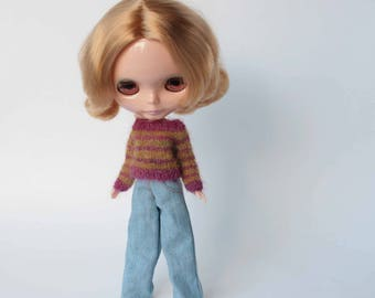 Blythe doll clothes, Stripes sweater for Blythe, Mohair doll pullover, Blythe knit outfit, Many colored Blythe jumper, Cute Streetwear cloth