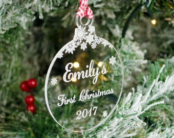 Baby's First Christmas Bauble. Personalised Clear Acrylic Xmas Tree Decoration. Laser Engraved Hardwood Snowflakes. Newborn Birth Gift.