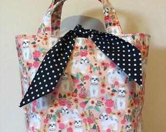 Shih tzu dog print handbag