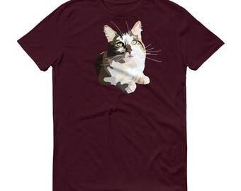 Cat Short-Sleeve T-Shirt, Cat Shirt, Kitty Clothes, Feline Appearl, Cat Lovers, Art T-shirt, Graphic Design, Cat Art