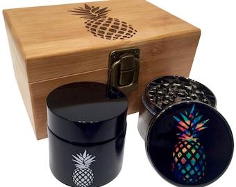 "Pineapple Grinder Herb Jar and Stash Box Combo - 2.5"" Full Size Titanium 4 Part Grinder - UV Glass jar - Engraved Wood - Gift Box"