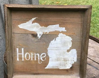 Square wood tray. Repurposed wood. Michigan home