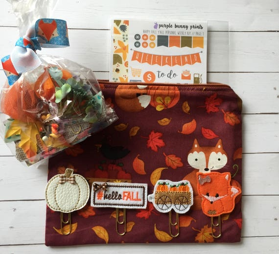 Fall Yall Planner Kit* Fall Planner Clip* Fall bag* Fox fabric bag* Fox pencil bag* Planner Stickers* Fall Washi* Fall Planner Supplies*Fox