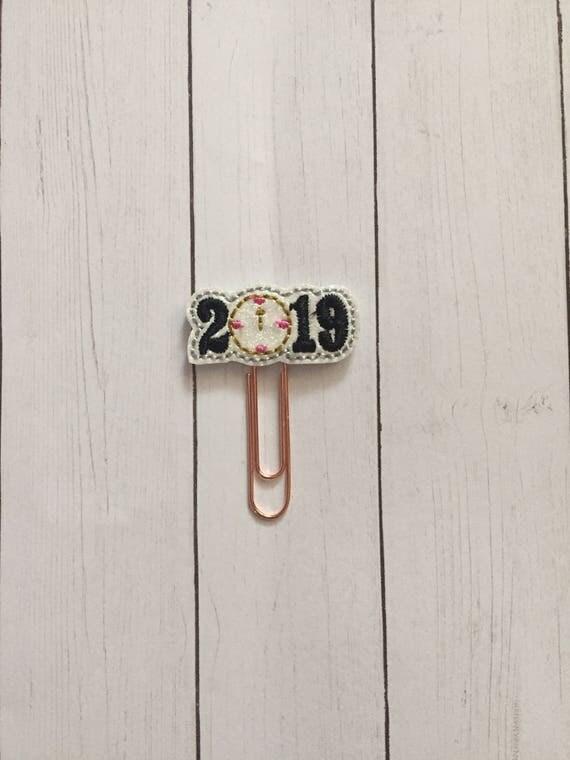 2019 Planner Clip/Planner Clip/Bookmark. New Year Planner Clip. Clock Planner Clip. Glitter Planner Clip