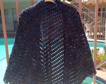 Multicolor Shawl, Crochet Shawl, Handmade Accessory, Blue Shawl, Purple Shawl, Summer Jacket, Summer Wrap