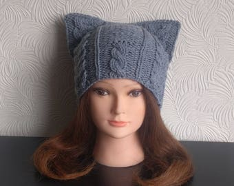 "Womens winter hat – Cat ear hat – Cat beanie – ""Tom Cat"" hat - Knit hat – Cat hat for women - Wool hat - Beanie for women - Winter beanie"