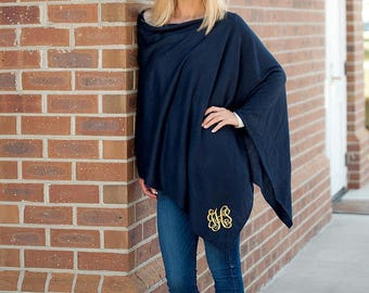 Monogrammed Poncho-Embroidered Poncho
