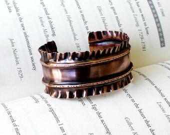 Fold Formed Cuff Bracelet, Rustic Chic Cuff Bracelet, Symmetrical Design Hand Forged Bracelet, Boho Chic Women's Cuff Bracelet