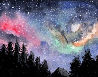 "Galaxy night sky print 2. Galaxy night sky landscape signed watercolor print by Eric Boireau. These are 5x7""matted and backed to 8x10""."
