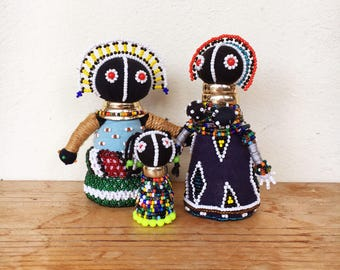 Trio Ndebele beaded dolls South Africa fertility Sangoma tribal ethnic decor geometric traditional vintage African three family group lot