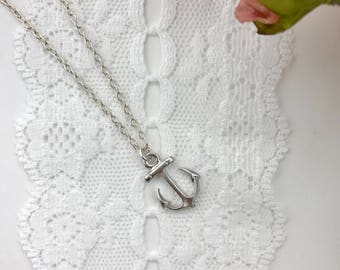 Silver Anchor necklace, sterling silver, Inspiration jewelry, Simple, Faith Necklace, Anchor Necklace, Strength Jewelry, Nautical Jewelry